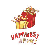 день рождения счастливый vector подарочная коробка изображения с лентой и обхватывайте на белой предпосылке Стоковое Изображение RF