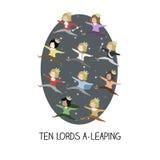 день 12 рождества - 10 лордов перескакивать бесплатная иллюстрация