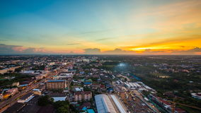 день 4k к nighttime-упущению города Nakhon Ratchasima сток-видео