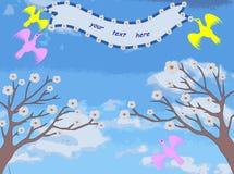 2 дерева с цветками, птицами держат ленту Стоковая Фотография