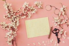 дерево и чистый лист бумаги вишневых цветов для письма Стоковое Изображение