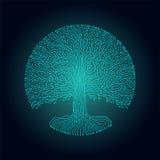 дерево yggdrasil стиля цепи Высок-техника круглое Дизайн киберпанка футуристический Стоковые Фотографии RF