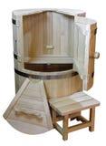 деревянная ванна бочонка для купать и washinga Стоковые Изображения