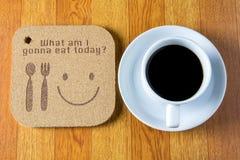 деревянная текстура пишет что я идя съесть сегодня Стоковая Фотография