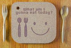 деревянная текстура пишет что я идя съесть сегодня Стоковые Изображения
