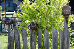 деревянное зеленого лужка загородки старое стоковое фото rf