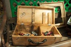 деревянное коробки открытое Стоковые Фотографии RF