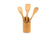 деревянное кухни установленное Стоковые Изображения RF