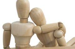 деревянное думмичное белое отношение влюбленности предпосылки Стоковое Изображение RF