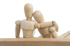 деревянное думмичное белое отношение влюбленности предпосылки Стоковое фото RF