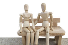деревянное думмичное белое отношение влюбленности предпосылки Стоковая Фотография