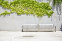 2 деревянной скамьи перед бетонной стеной Стоковые Изображения RF