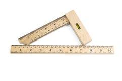 деревянные установленный квадрат и правитель Стоковое Изображение RF