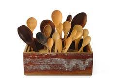деревянные утвари кухни в деревянной коробке Стоковые Фотографии RF