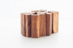 деревянный блок на белой предпосылке Стоковые Изображения