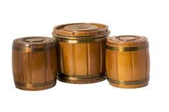 3 деревянных бочонка Стоковое Изображение