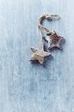 2 деревянных звезды рождества Стоковые Изображения RF