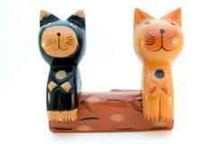 2 деревянных кота на стенде Стоковое Изображение RF