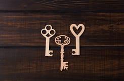 3 деревянных ключа Стоковые Фотографии RF