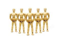 5 деревянных марионеток стоят Стоковое Изображение RF