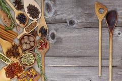 2 деревянных ложки и специи Стоковая Фотография