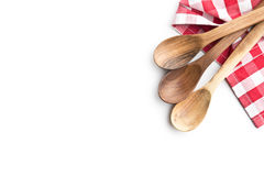 3 деревянных ложки и checkered салфетка Стоковое Фото