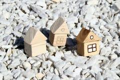 3 деревянных дома Стоковая Фотография