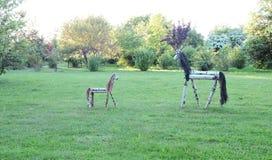 2 деревянных лошади Стоковое Изображение RF