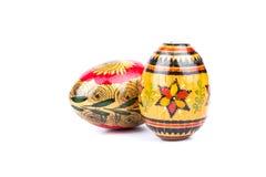 2 деревянных покрашенных пасхального яйца Стоковая Фотография