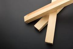 3 деревянных планки на сером цвете Стоковые Изображения RF