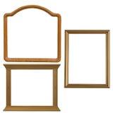 3 деревянных рамки изолированной на белизне Стоковое Изображение RF