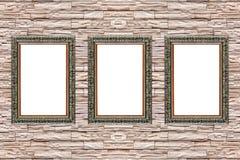 3 деревянных рамки на современной стене шифера Стоковая Фотография RF