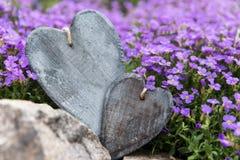 2 деревянных сердца перед фиолетовыми цветениями Стоковое Фото