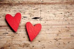 2 деревянных сердца Стоковое Фото
