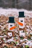 2 деревянных снеговика Стоковые Фото