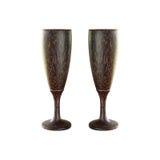 2 деревянных стекла шампанского изолированного на белизне Стоковое фото RF
