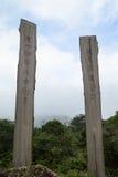 2 деревянных стелы на пути премудрости в Гонконге Стоковые Изображения RF