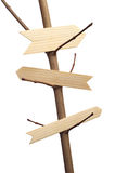 3 деревянных стрелки на ветви дерева Стоковая Фотография