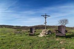 2 деревянных стуль в горе Стоковое Изображение