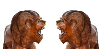 2 деревянных тигра стоковая фотография rf