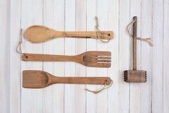 4 деревянных утвари кухонь Стоковые Фотографии RF