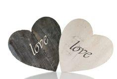 2 деревянных формы сердца с влюбленностью Стоковые Фотографии RF
