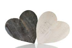 2 деревянных формы сердца Стоковое фото RF