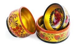 3 деревянных шара, покрашенного в стиле Khokhloma Стоковое фото RF
