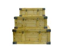 3 деревянных штабелированных комода Стоковая Фотография