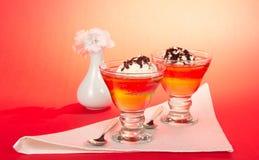 2 десерта, украшенного с шоколадом Стоковое Фото