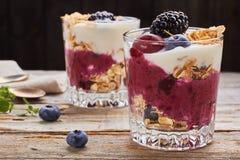 2 десерта югурта с ягодами и muesli Стоковое фото RF