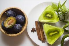 десерт Низко-калории с суфлем кивиа Стоковые Фото