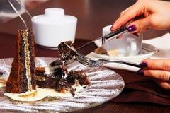 десерт плиты, пирожного, торта Стоковое Изображение