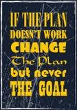 Если план не работает для изменения плана а никогда цели Мотивационная цитата Плакат оформления вектора иллюстрация штока